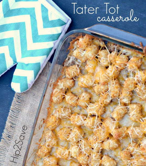 Tater Tot Casserole  Ingredients: 1/2 of a 32 oz. bag of frozen Tater Tots 1 small onion chopped 1 can condensed cream of mushroom soup 1 pound ground turkey or beef 1 and 1/2 cups shredded cheddar cheese  1/4 cup milk (optional)