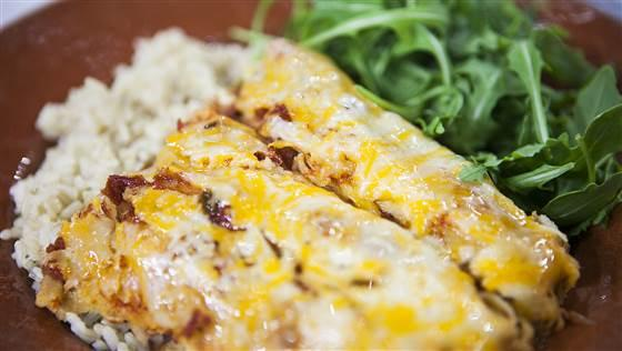Slow cooker black bean enchiladas  Yield: 4 servings Cost: $5.52 Prep time: 15 minutes Cooking times; 3-4 hours