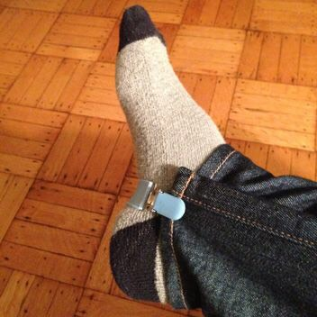 Use mitten clips on the bottom of your pants to hold them in place while wearing boots!