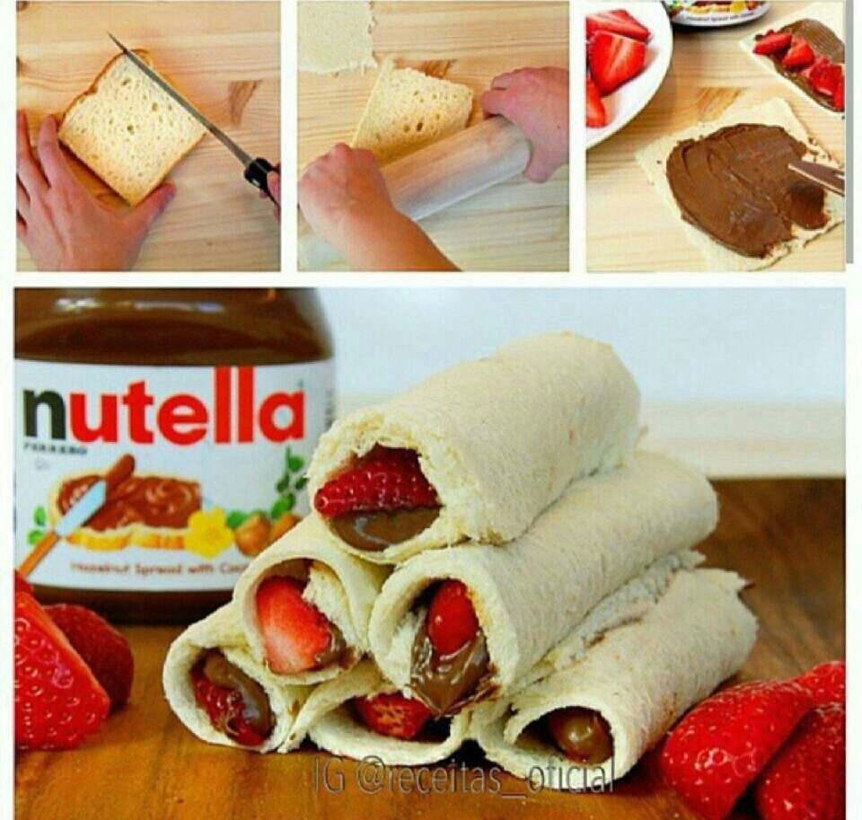 bread, nutella.  and strawberries