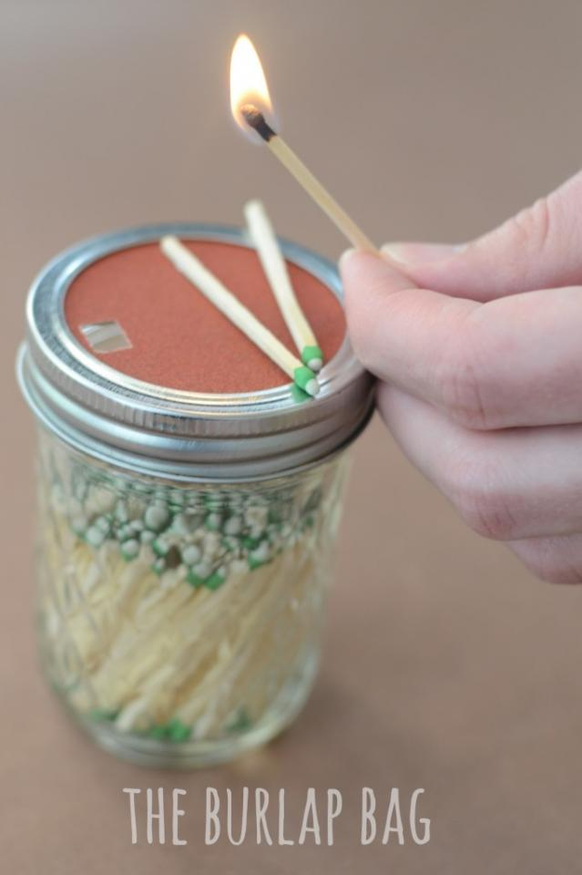 Mason Jar DIY match holder. cheap way to keep your matches clean and safe