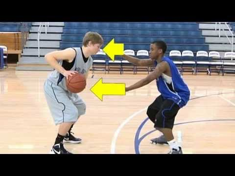 "ALWAYS keep both arms out wide to block the offense player. Both arms should be waving around, an opportunity to steal. TIP: call out ""ball"" really fast while shuffling around to scare the other team. It's worth it!"