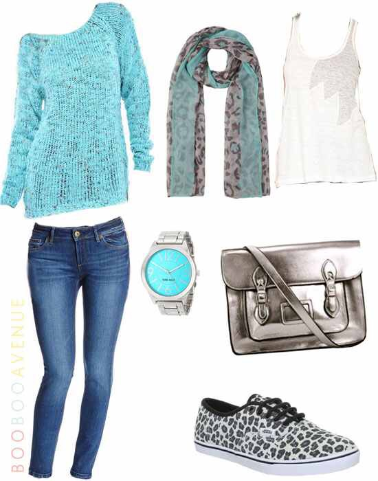Blue everything any shoes and like you can wear and maybe a white scarf