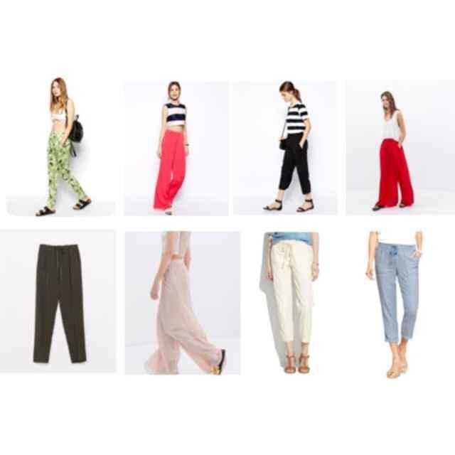 Clockwise from top left: Asos Tropical Print Beach Pant,$35; Asos Wide Leg Pants,$47; Asos Loose Crop Pants,$47; Zara Palazzo Trousers,$40; Old Navy Linen Blend Pants,$30; Madewell Murray Trousers,$40; Zara Wide Palazzo Trousers,$35; Zara Drawstring Loose Fit Trousers,$49.