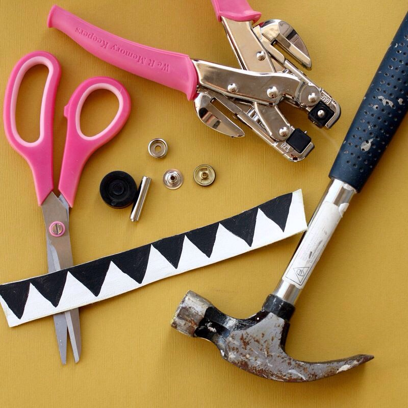 Here's what you need to attach a snap to your bracelet. You'll need snap hardware (can find this in any craft store in the sewing section), a hammer, and a hole punch tool.