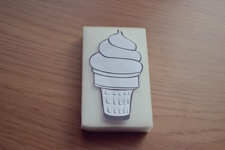 Draw or print out from Google Images a line drawing of an ice cream. Make sure the stencil fits inside the edges of the foam sponge (6 x 10cm). I wouldn't advise using an ordinary kitchen sponge as the holes are often too big.