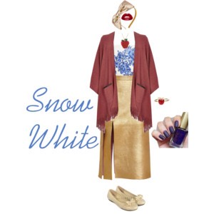 I always loved how graceful and kind Snow White is. I tried to capture colors and patterns as brilliant as her in this stunning autumn outfit! I really love how all of the tones play off of one another and I think they just tie the whole piece together! I thought it was a very cute, modern Snow!