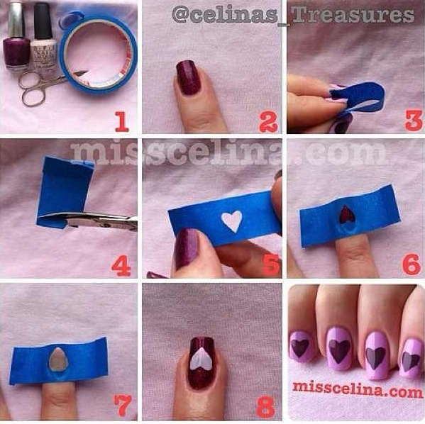 1: Paint on your first color and wait until it's COMPLETELY dry. 2: Cut a heart shape out if a small piece of Painters Tape. 3: Stick the tape where you want the heart to be on your nail. 4: Paint on your second color over the tape. 5: Wait about 15 seconds then pull off the tape gently.