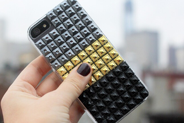 2. Stud Case: We have yet to find a surface we don't want to cover with studs. We love studs on totes  sandals, shirts, and now iPhone cases! This tutorial employs sheets of studs rather than traditional ones making them easy to glue on.