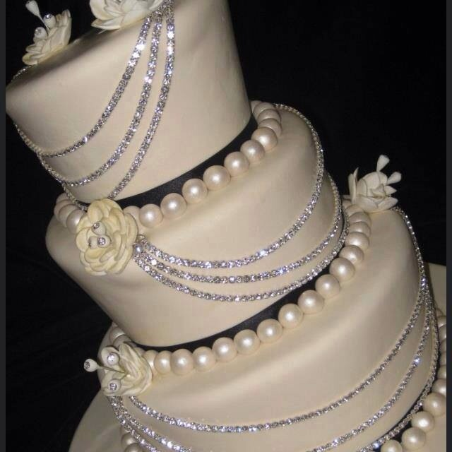 Don't limit yourself to just edible decorations use ribbon, pearls and rhinestones to take your creation over the top.  Just remove when ready to cut.  Thanks for looking. Please don't forget to like and follow. Click my profile pic to see all my tips.