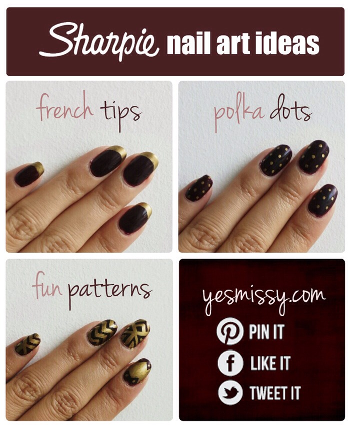 Just start with a base coat or color then use sharpie. Spray with hair spray and let dry befor you put the top coat so it doesn't smear.