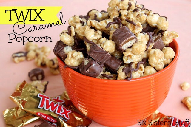 4. Mix in chopped Twix candy bars.  5. Drizzle popcorn with melted chocolate. (Tip for meting chocolate chips in the microwave: Add a teaspoon or less of shortening and then microwave for 15 seconds at a time until it's all melted. The shortening helps keep it from getting all clumpy.)