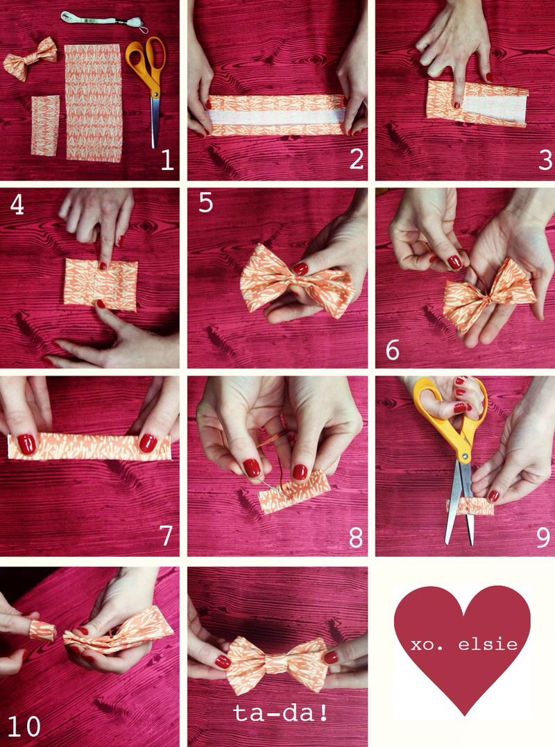 9. trim excess. 10. slip the small loop over the bow and into the center. Hooray! You just made something adorable.