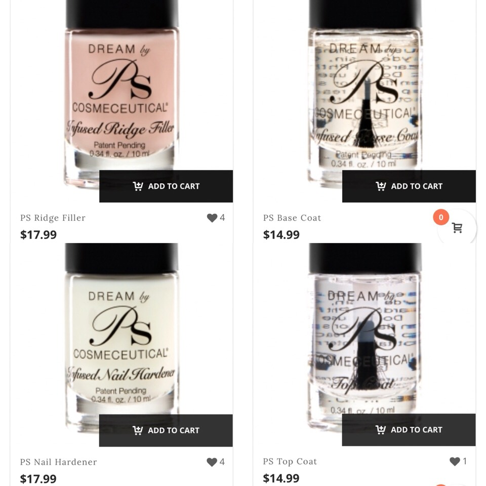 www.pspolish.com polishes are $14.99 and $17.99 for the Ridge Filler and Nail Hardener.