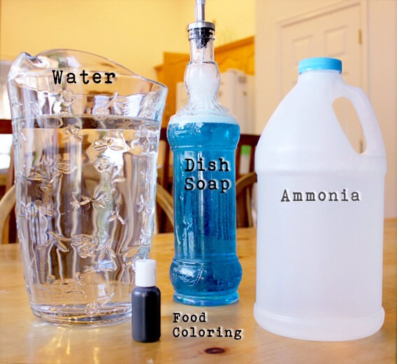 You will need:  1 empty (clean) gallon jug 1 gallon water  1 tablespoon dish soap (use whatever you have on hand. I used Dawn) 1/2 cup non-sudsing ammonia  (Note: You can substitute vinegar for ammonia if you prefer) A few drops of blue food coloring (this is optional, but it's a reminder/warning)