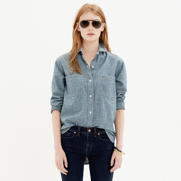 A Chambray Button Down Either dressed up or down, chambray should be your equivalent of a second skin from class to a night out. Wear it with a pair of dark wash skinnies and knee high boots.