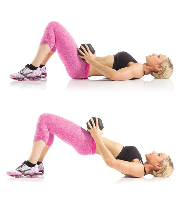 4. Glute Bridge with Dumbbell: In this move you'll be lifting your booty to build a more lifted booty! If you find that this is too challenging or uncomfortable, you can ditch the dumbbell! Click here to learn how it's done.