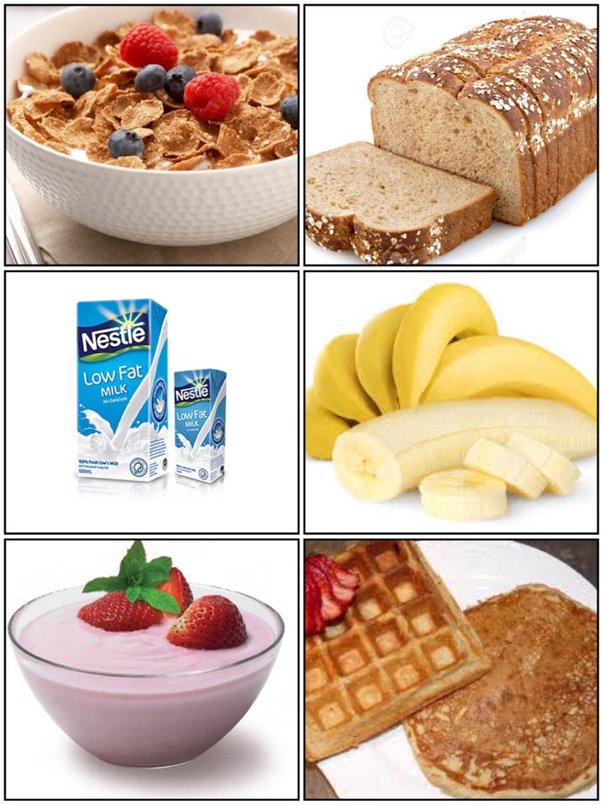 Good breakfast options include: •Whole-grain cereals or bread •Low-fat milk •Juice •Bananas •Yogurt •A waffle or pancake