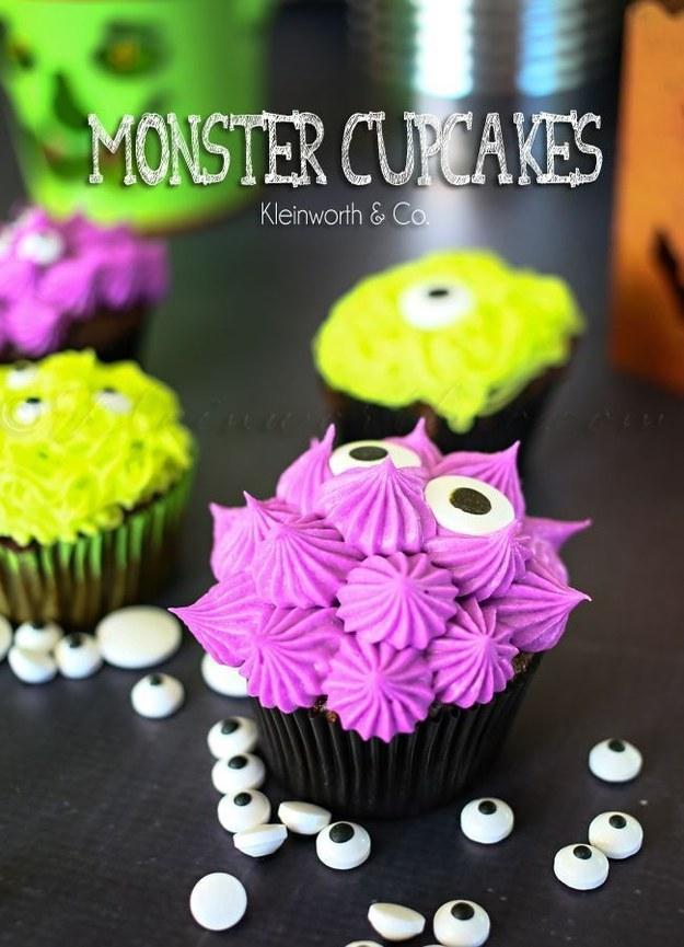 Recipe: http://www.kleinworthco.com/2014/10/monster-cupcakes.html