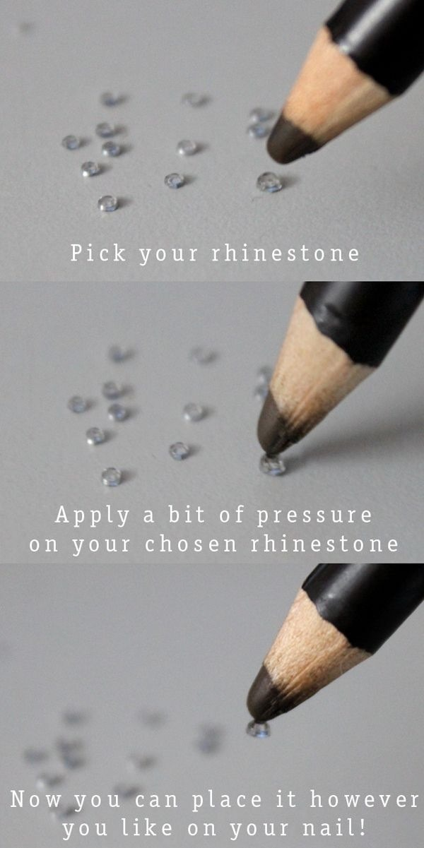 Use a waxy pencil to easily apply rhinestones!