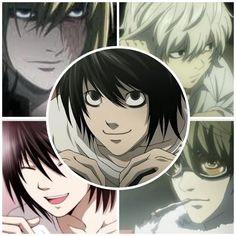 Death Note (top left: Mello; top right: Near; middle: L; bottom left: Beyond Birthday; bottom right: Matt)