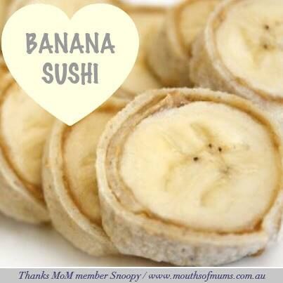 2 Soft taco flour tortillas 2 Bananas 4 TbspPeanut butter Cinnamon to taste  Microwave tortillas on paper towel for 10 seconds to soften.Spread each tortilla with 2 tablespoons peanut butter.Sprinkle with cinnamon,roll the tortillas tightly around the banana. Slice into half inch pieces like sush