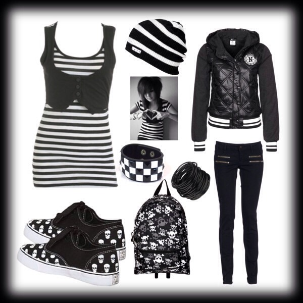 Emo Outfit: you will need band shirts, skinny jeans, converses or vans, band bracelets or any kind of bracelets.