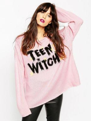 "ASOS Sweater With Halloween Teen With Slogan I don't know what it is, but I'm a sucker for just about anything that says ""teen witch"" on it. I know it's not even referencing the movie of the same name (which is ridic '80s brilliance), I just love it. If u do too, cop this sweater before it sells ou"
