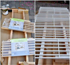 head to Bed Bath and Beyond to purchase 2 racks (each contains 3 tiers/shelves) - total of 6 shelves. spray painting is faster .