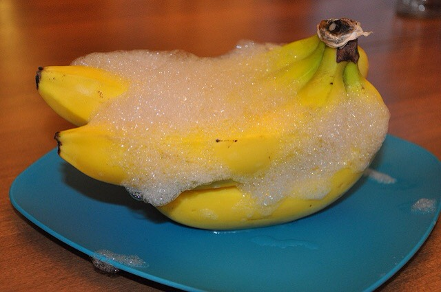 Rub bananas with dish soap suds. Allow yo air dry. No more fruit flies!