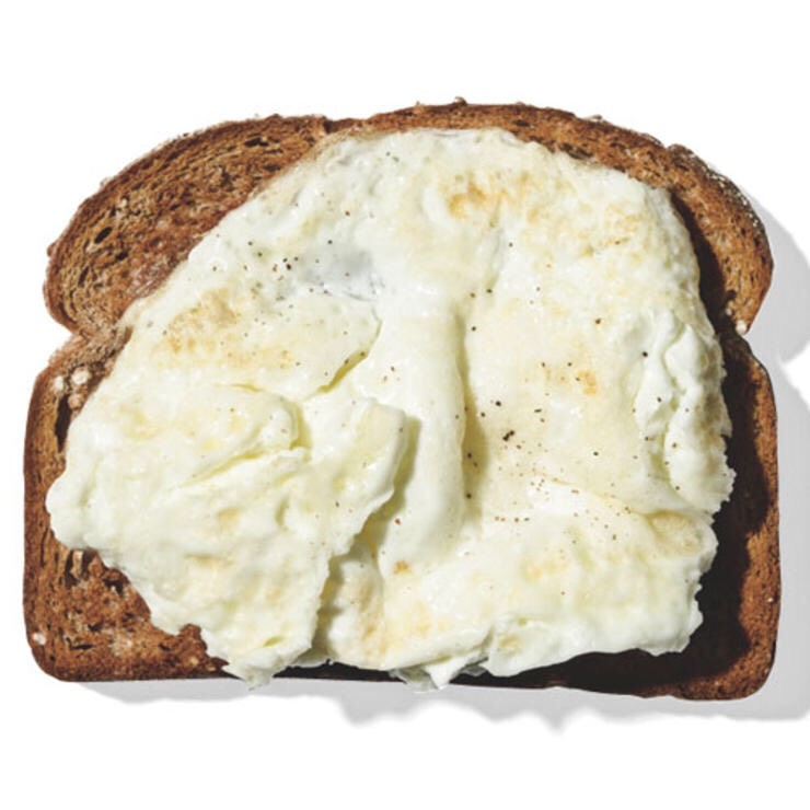 2 EGG WHITES WITH 1 SLICE WHOLE WHEAT TOAST This protein-and-carb duo gives you a light but energizing start when you have a belly-busting lunch on your calendar.