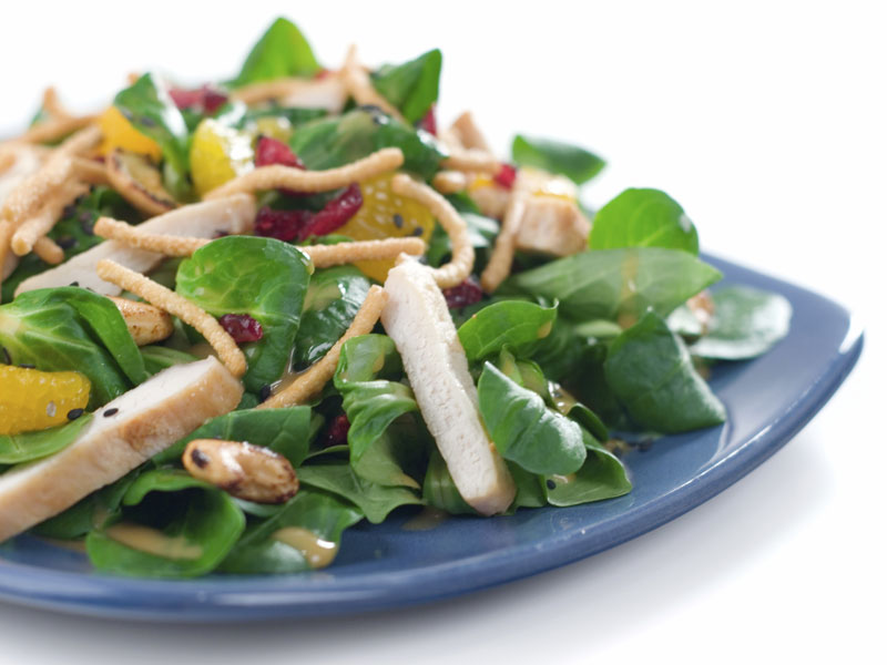 for lunch eat a chicken salad or tukey salad with balsamic vinager because ranch and other dressing are very fatining.