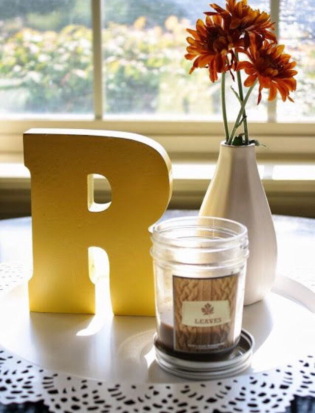 2. Gold Letter: Buy a wooden or cardboard letter of your choice and spray paint it gold.