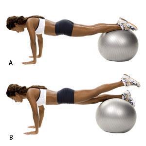 Plank leg raise using stability ball