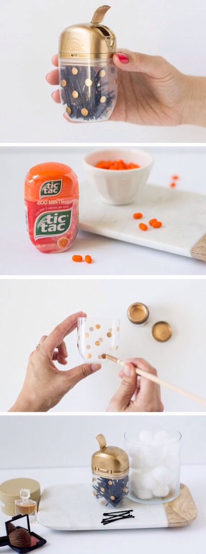 Have bobby pins all over the place? Put them in a large tic tac container. Take off the wrapping and paint it to your style!