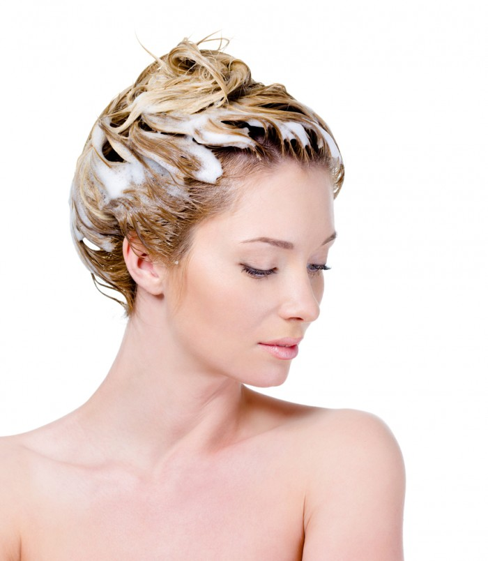 Once lathered: Push your hair up on top of your head and stick it down with the head & shoulders & vinaher mix