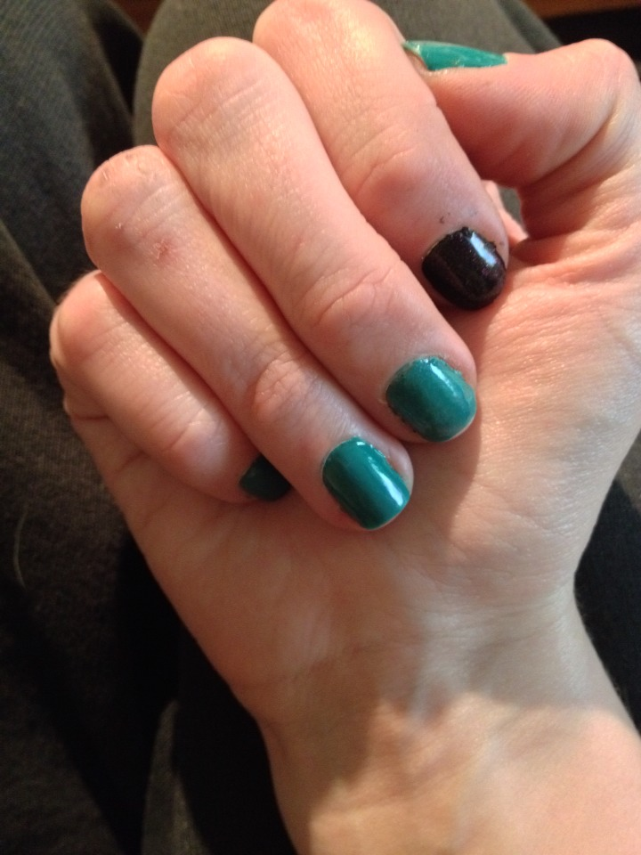 Black Wet 'n Wild and the teal is one I mixed myself from several nearly empty colors.