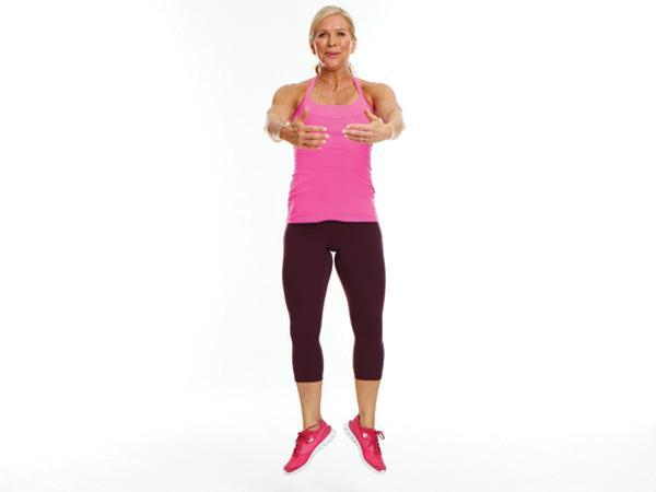 Week 4 Power Move: Plié Heel Click  Targets: Thighs and butt  Stand with feet a few feet apart and toes slightly turned out. Bend knees, lowering torso and keeping back straight. Then jump up and, while in air, straighten legs and click heels together. Land softly with feet a few feet apart