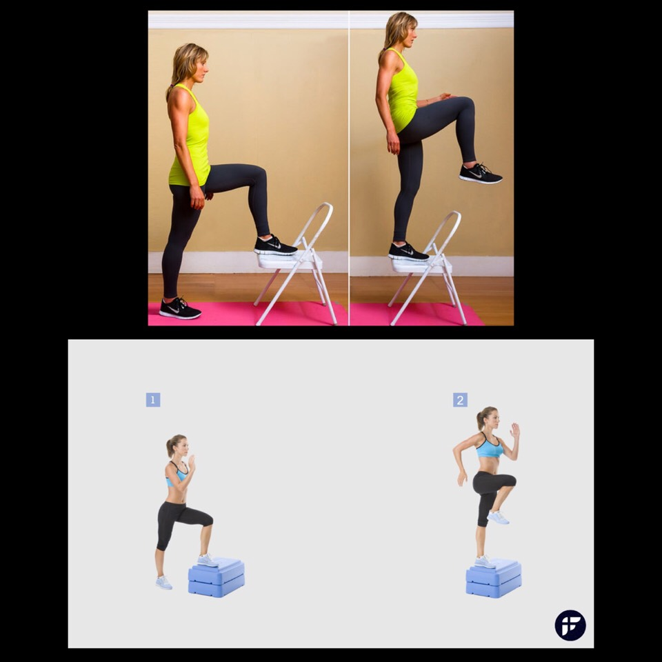 1.	Step-Ups - use a step or platform that is about 4-6 inches high. Stand with your feet hip-width apart and jump onto the step or platform at least 15 times. Repeat after walking around the platform in a complete circle.