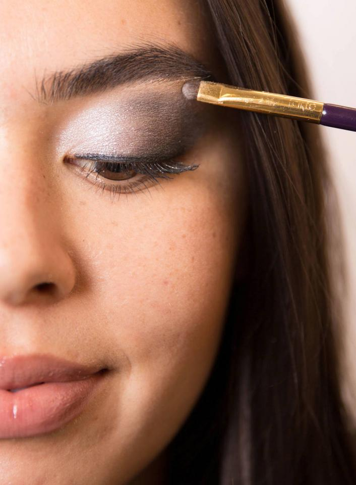 12. Finally, if you have trouble blending any hard lines, diffuse them with a translucent powder and tiny eye shadow brush.