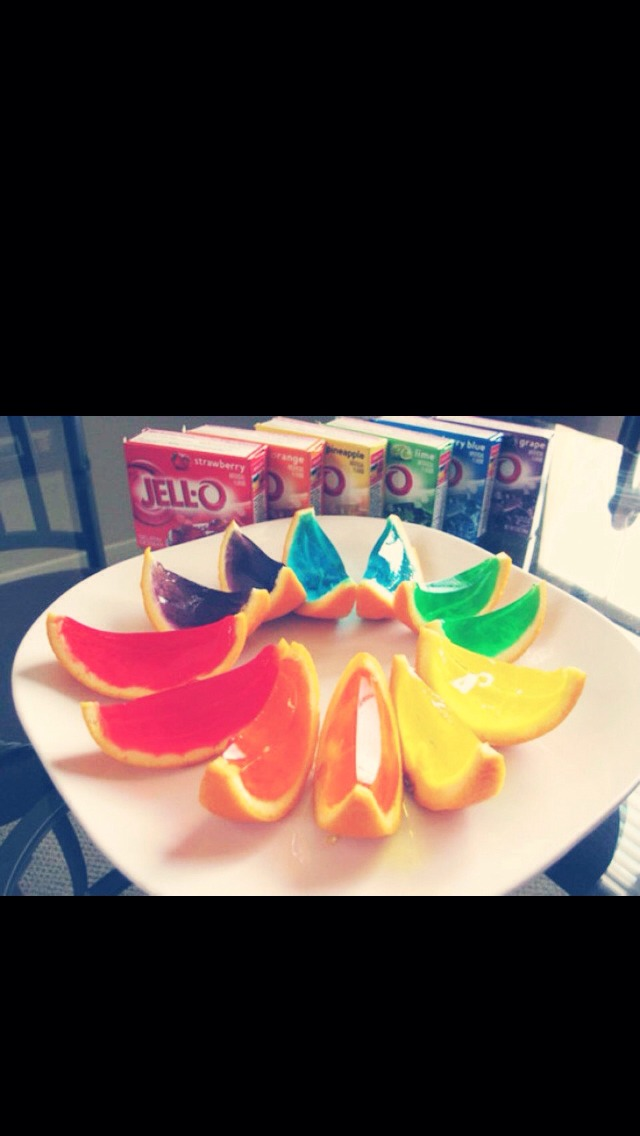 Put them in the fridge ( or freezer ) and when the jello has hardened cut them like orange slices!