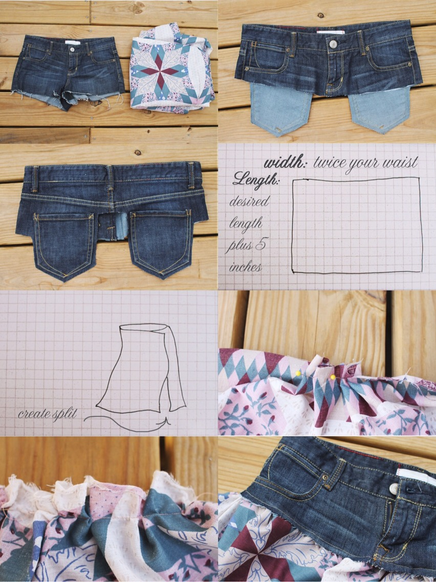 Supplies: Jean shorts or skirt, very thin, cotton fabric.  Pantry Supplies: Scissors, sewing pins, sewing machine or needle & thread.