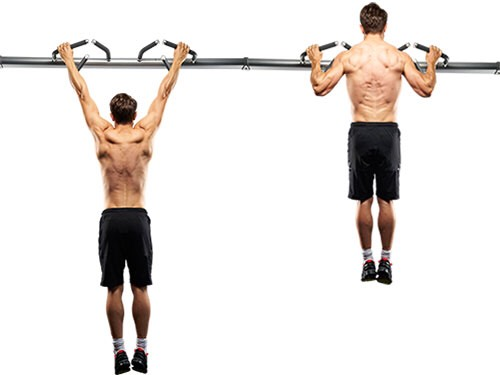 10 pull ups with hands facing out 10 pull ups with hands facing towards you 10 pull ups one hand facing out one facing towards you... Switch hands and do 10 more
