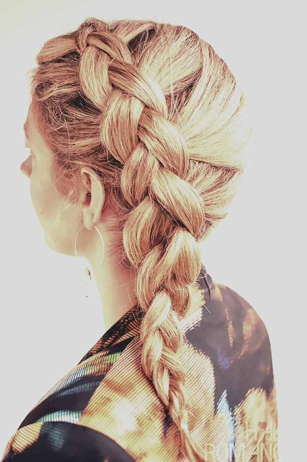 1. Braid your hair in 4 parts then tie them up with elastics peferbably with little ones