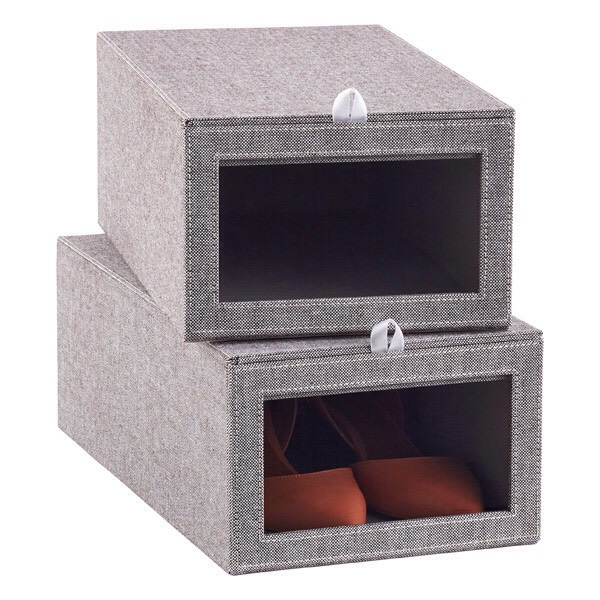 For the Shoes Ditch the cardboard boxes and keep your shoes scuff-free with this modern bin. www.thecontainerstore.com