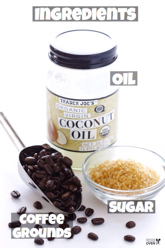 +coffee grounds(you can either ground the coffee fresh, or use alreadyground up coffeelike I do) +sugar(I used turbinado, but any sugar will work. I would recommend a more finely-ground sugar, like brown sugar, if your skin is sensitive.) +oil(coconut oil + olive oil are myfavorites)