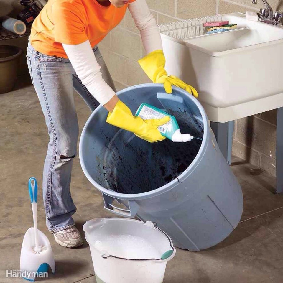 37.Use toilet cleaner and a toilet brush on your garage trash cans, then rinse well with a hose.