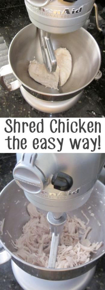 if you have a mixer then use it for shredded chicken it only takes less than a minuet to shred your hot chicken so your hands don't have too.