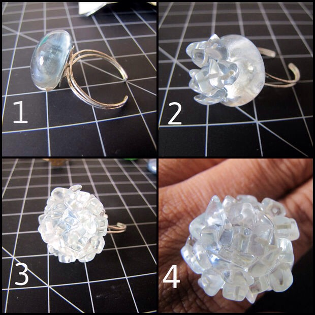 Step 2: Making the ring Stick the pebble on to blank ring  (Image 1). Once it is secured, start gluing the stone chips, starting from top center of the pebble (Image 2). Cover the complete pebble by gluing stone chips all over it (Image 3).