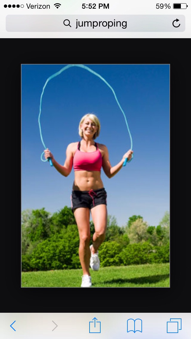 Then jump rope for about a minute or more.